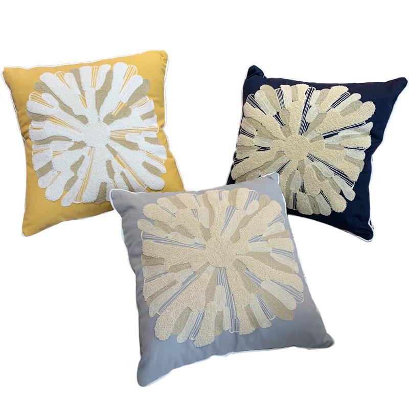 三月兮 刺繡絨線靠墊套北歐黃色全棉柔軟抱枕美式樣板房沙發靠枕/可開超取