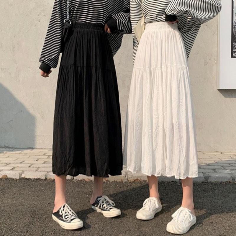 白色半身裙女春季新款韓版中長款顯瘦A字裙百搭高腰仙女裙子