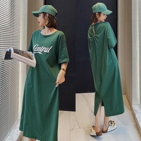 洋裝 休閒 開叉裙 L-3XL新款/長款大碼背後開叉露背設計短袖連身裙S109-9433.胖胖唯依