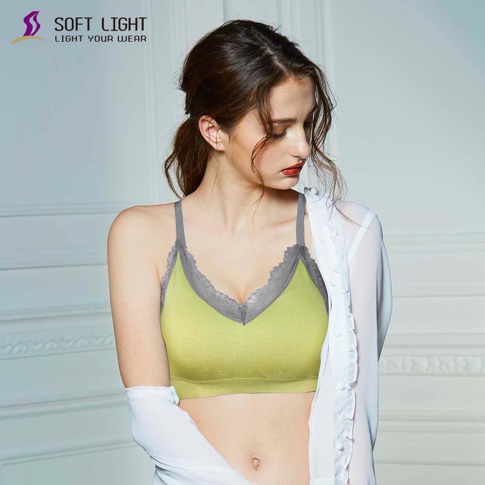 SOFT LIGHT - 蕾絲蜂巢透氣呼吸內衣(芥末綠)