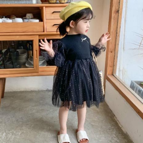 兒童針織長袖公主洋裝 女童洋裝 兒童洋裝 女童連衣裙【蘋果小舖】(MI)1912 A5