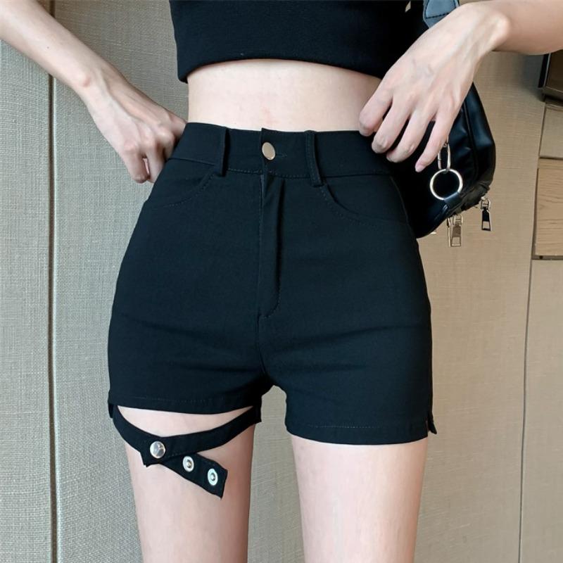 IELGY 2021夏季新款高腰直筒褲緊身彈力褲子鏤空短褲顯瘦黑色牛仔褲女