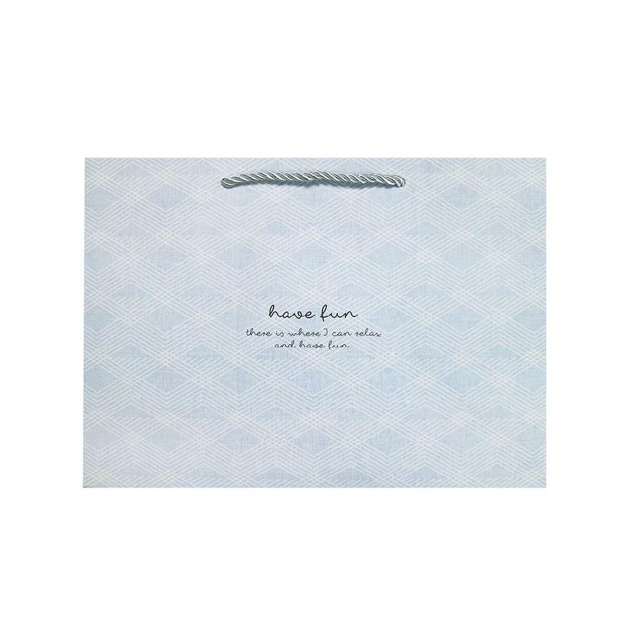 寬底大禮物提袋(菱格紋-藍)-簡單生活 CBG-462B (墊腳石購物網)
