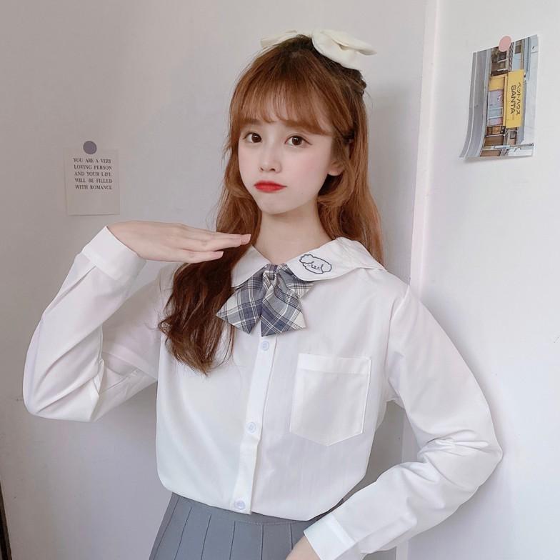 長袖襯衫  學生襯衫  2021新款白色長袖襯衫寬松修身日系學院風JK制服女