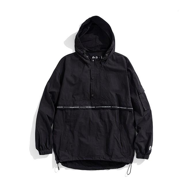 Y.A.S X Challenge聯名款 織帶連帽半開襟風衣-黑白 原價2480