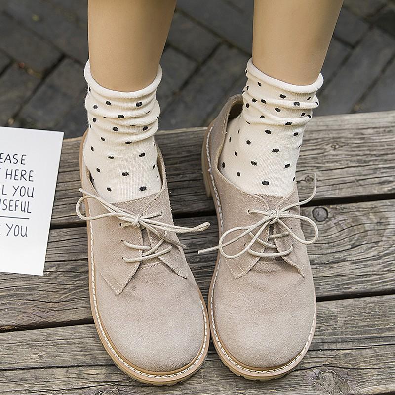 水玉圓點襪 小卷邊堆堆襪 點點長襪 學院百搭可愛復古中筒襪全棉韓版【LaVie洛薇】W002
