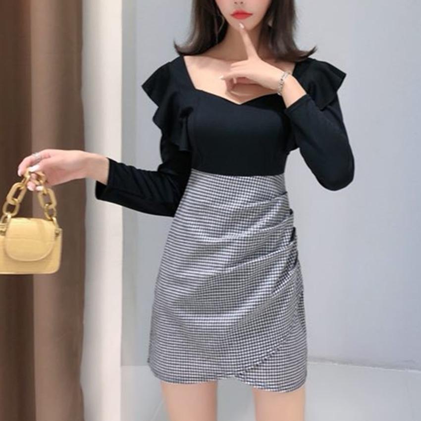 【免運】新款方領假兩件拼接格子潮 韓版性感荷葉袖合身顯瘦包臀裙設計感小眾女裙 長袖洋裝