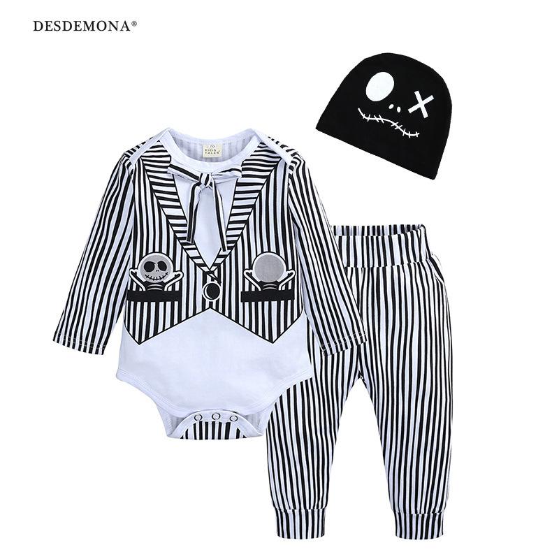 新品上新 現貨出售  童裝嬰幼兒男女童寶寶秋款萬聖節長袖長褲帽子三件套童套裝