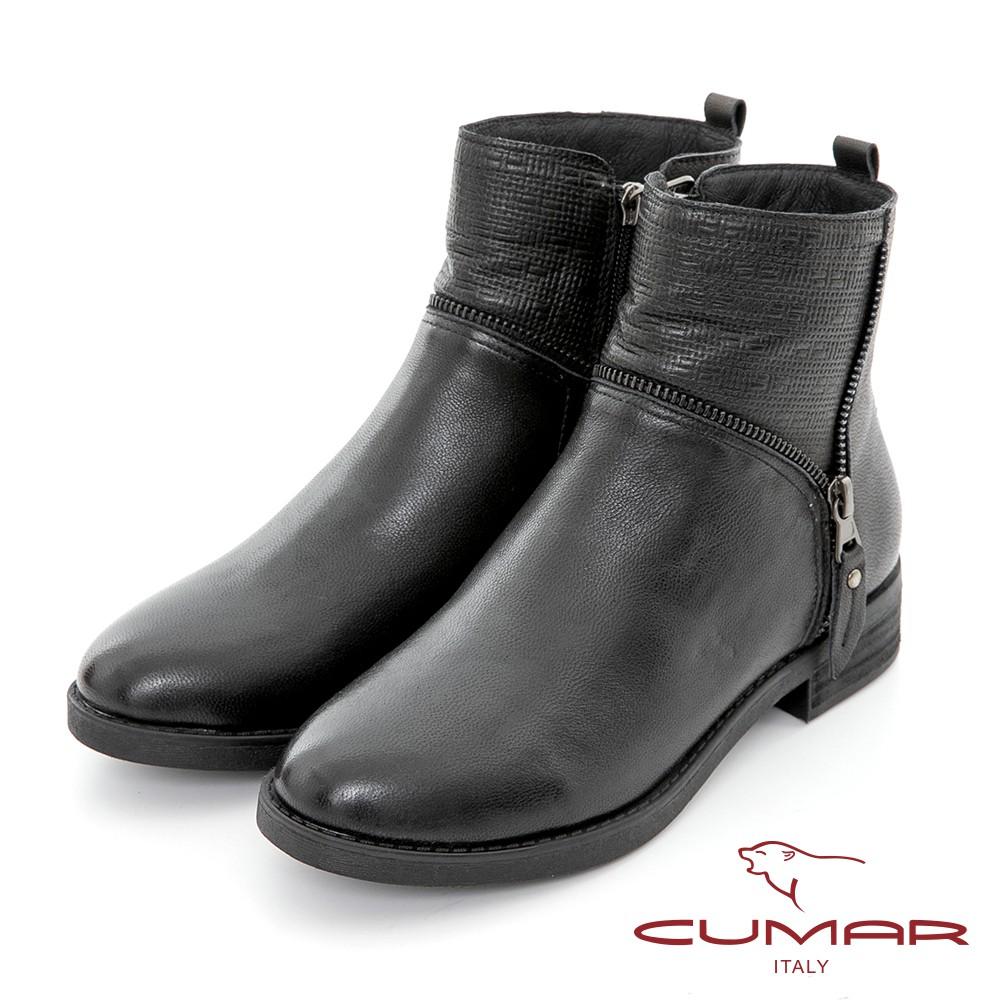 【CUMAR】擦色感簡約異材質拼接工程短靴-黑色