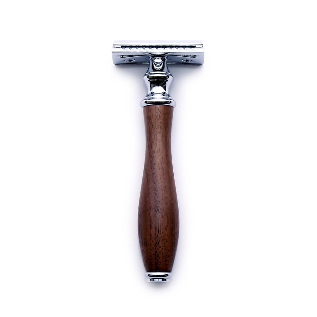 Grand Manner 胡桃木 雙面安全手動刮鬍刀(傳統復古老式雙刃刮鬍刀片刀架)男生男友男朋友情人節父親節聖誕節禮物