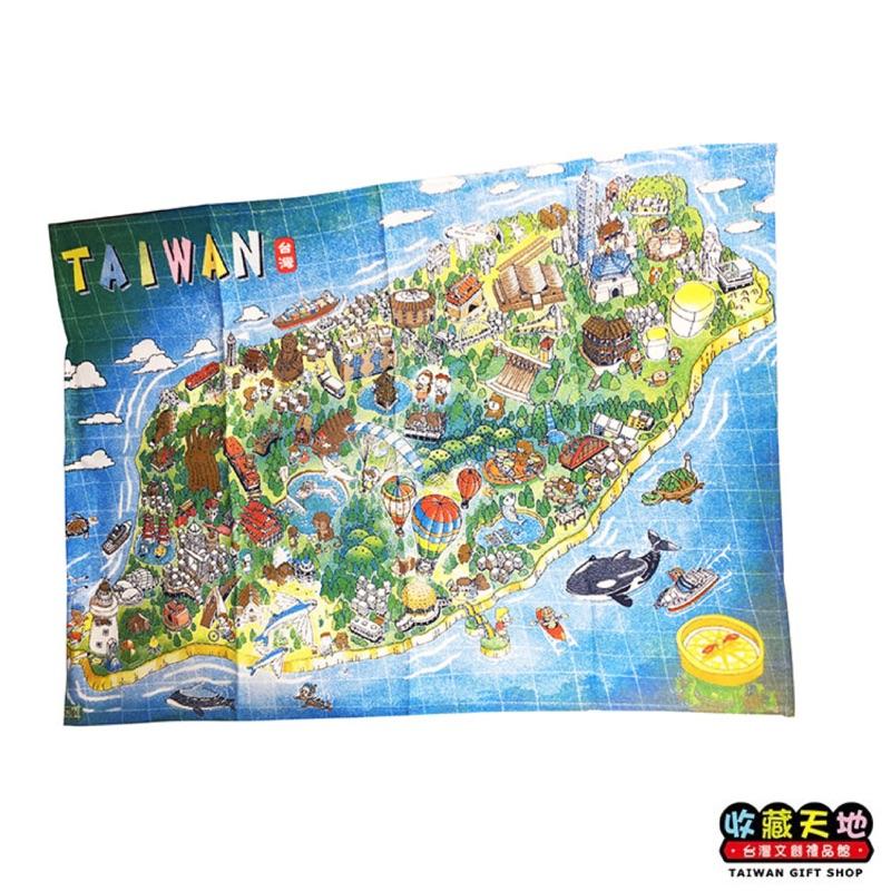 手繪台灣映象裝飾布地圖 - 台灣島全景 [收藏天地]
