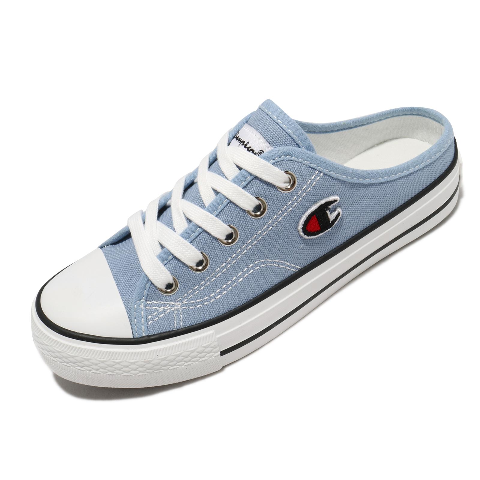 Champion 穆勒鞋 Canvas Slip 帆布鞋 女 淺藍 基本款 休閒鞋【ACS】 WSLS101460