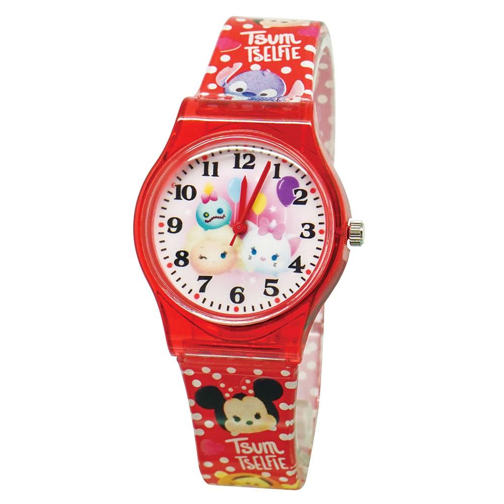 【Disney迪士尼】阿醜艾莎瑪麗貓  TSUMTSUM果凍錶  正版授權 兒童手錶 學習時間 紅色