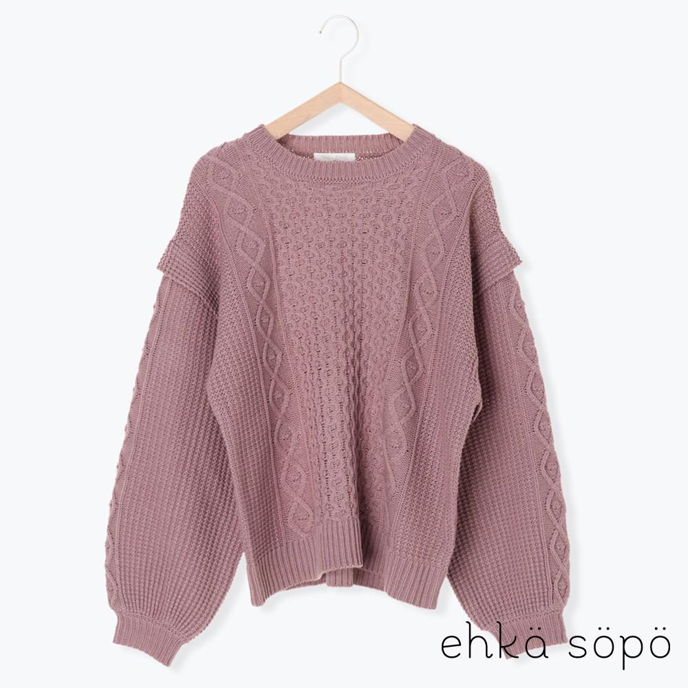 ehka sopo 麻花編織拼接感蓬袖針織衫(FF04L2C0280)