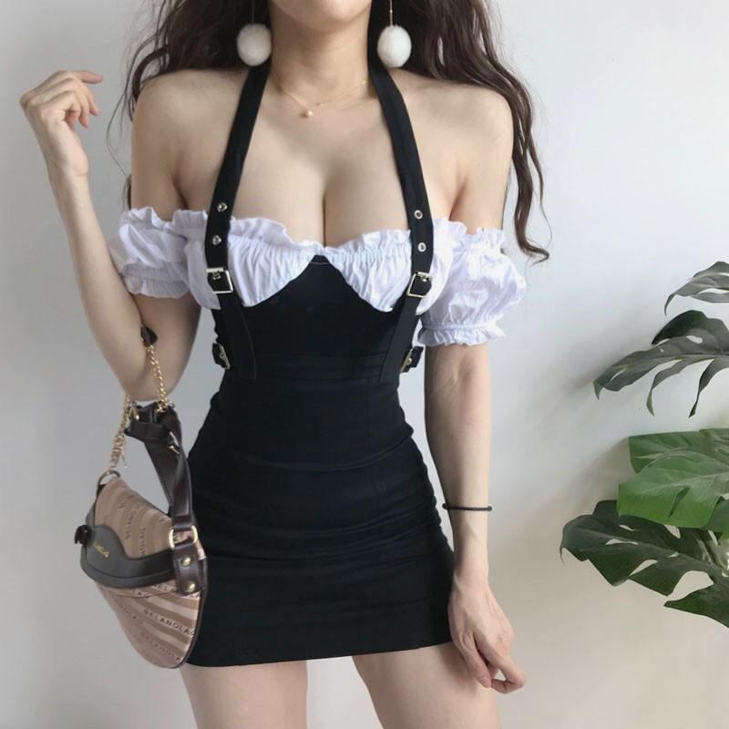性感鎖骨-時尚 掛脖 荷葉邊 泡泡袖 假兩件 設計感 撞色包臀洋裝【 庫3531】