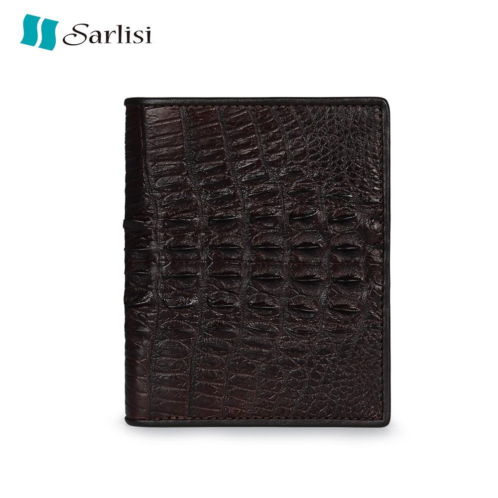 【Sarlisi】商務鱷魚皮短夾皮夾背骨豎款錢包 【歷史最低價 買到賺到】