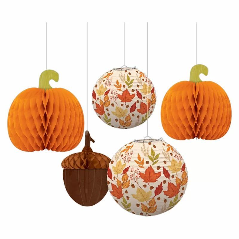 派對城 現貨【天花板裝飾組5入-感恩節南瓜】 歐美派對 派對裝飾 佈置套組秋天 派對佈置 拍攝道具