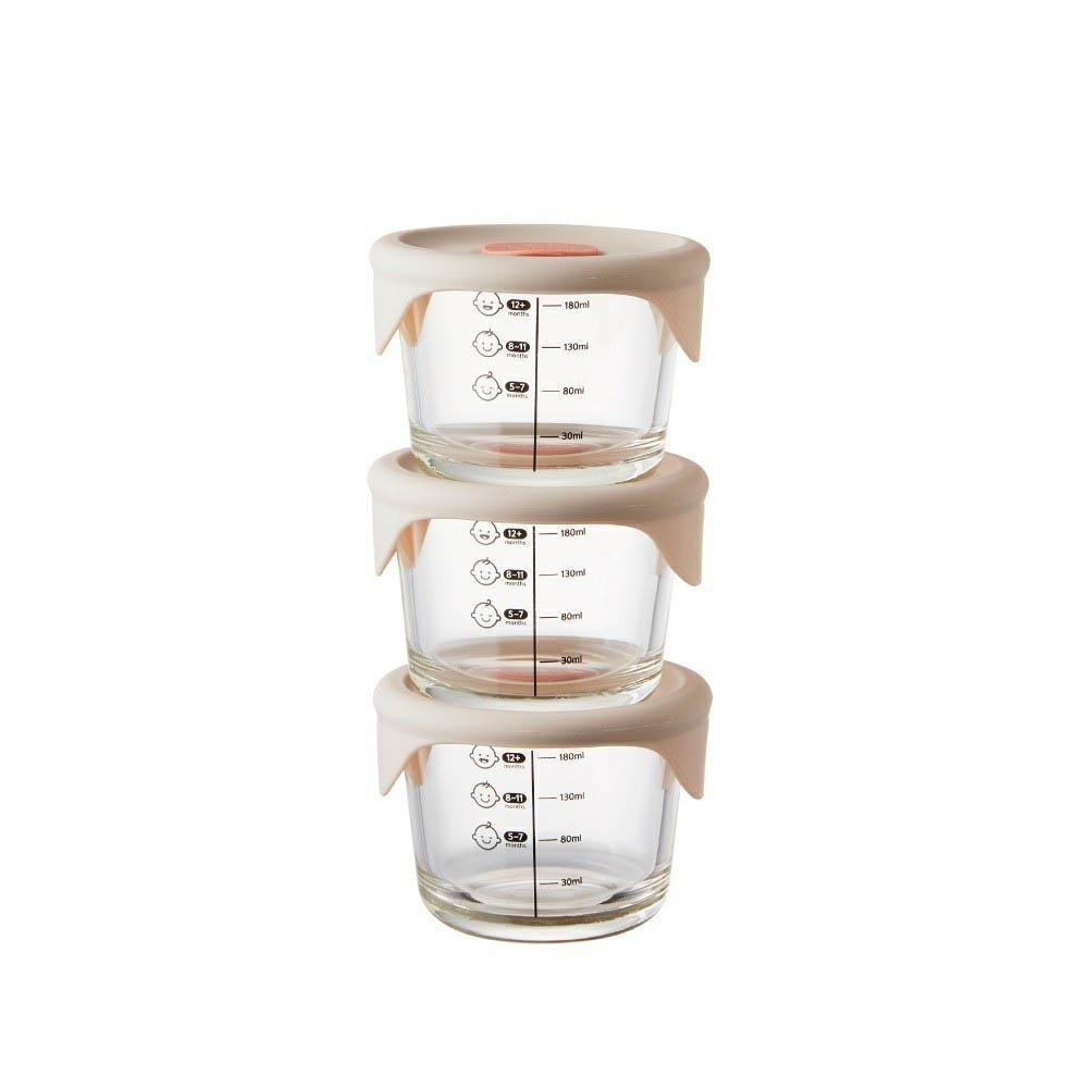 樂扣 LOCK & LOCK  寶寶副食品耐熱玻璃調理盒230ml三入(圓形/粉灰)[免運費]