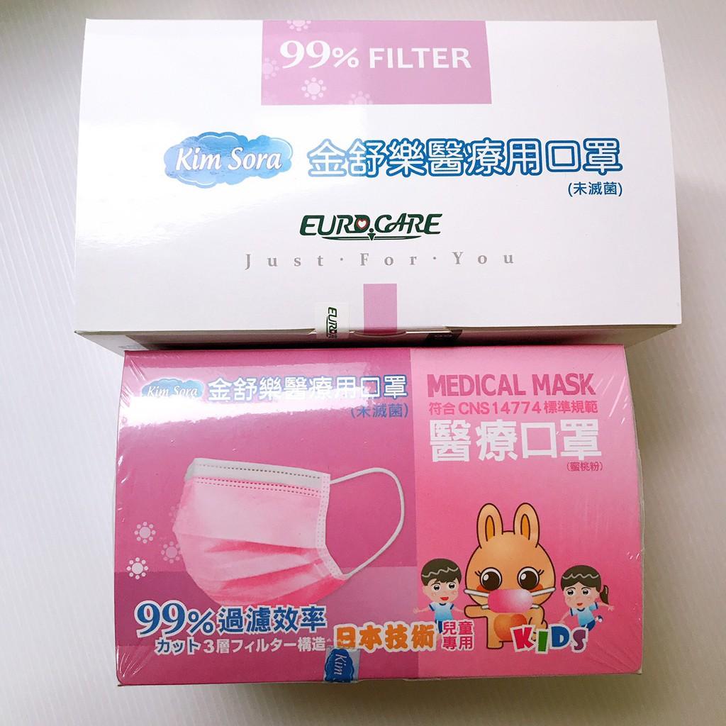 金舒樂 醫療級口罩 盒裝50入 蜜桃粉/藍色隨機出貨 成人/兒童可以選購 【艾保康】