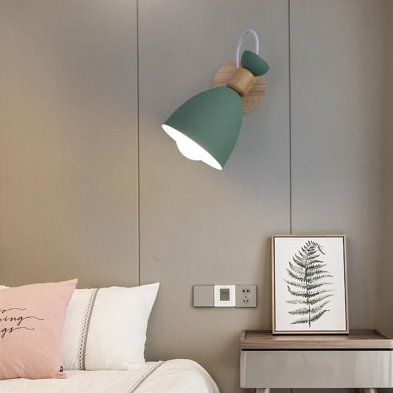 北歐實木臥室壁燈現代簡約馬卡龍背景墻壁燈客廳創意過道床頭燈具