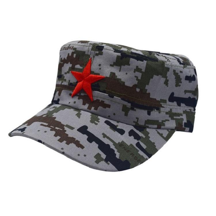 【釣魚帽】 斜紋/帆布平頂帽子繡五角星單層軍帽紅軍帽男便宜的帽KIMM
