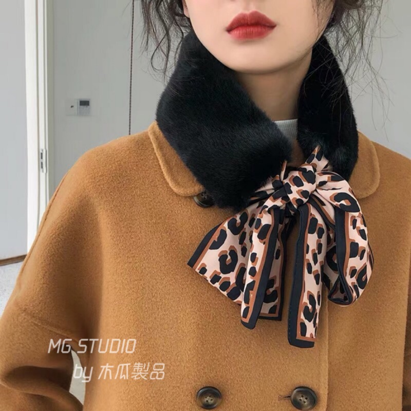 木瓜製品/ 9色豹紋絲帶素色毛絨仿皮草圍巾