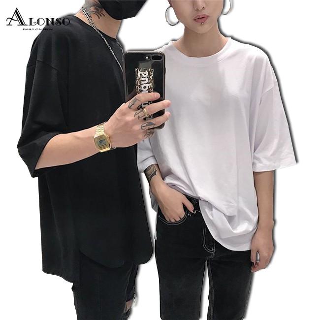 免運 寬鬆大尺碼顯瘦時尚素面短袖T恤情侶裝上衣韓版不規則
