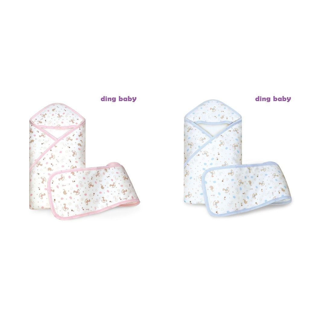 ding baby 歡樂木馬鋪棉包巾禮盒組-粉/藍 小丁婦幼