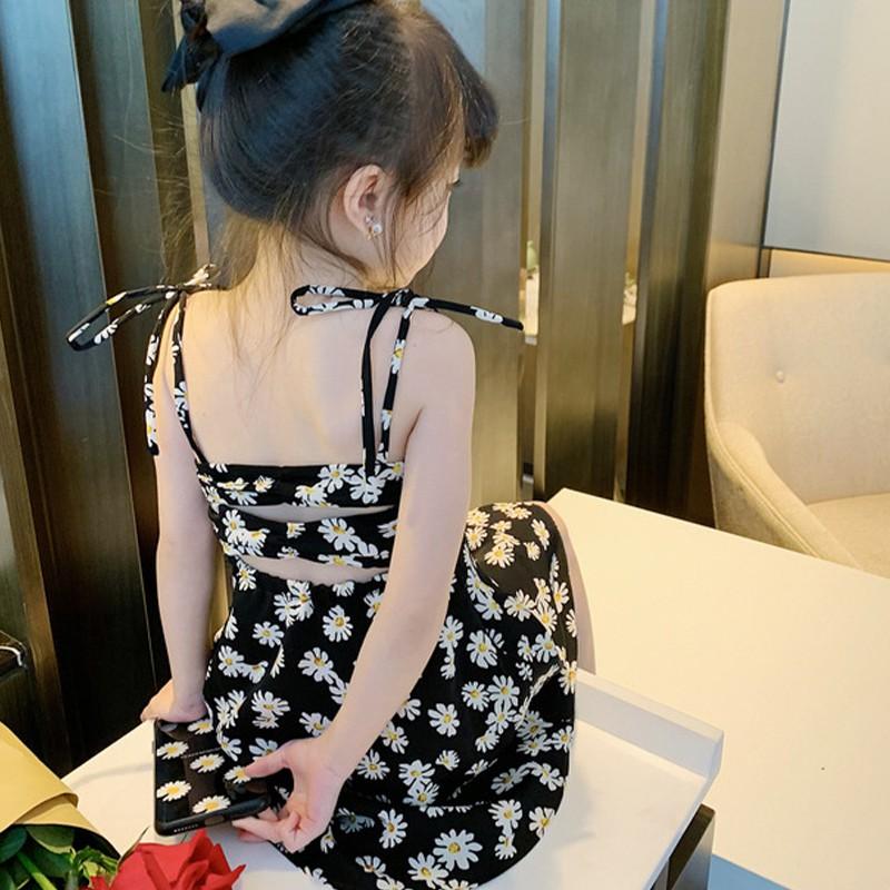 夏季兒童碎花連衣裙 女寶寶洋氣日系小雛菊吊帶連衣裙 女孩甜美公主裙 兒童可愛小洋裝 裙子【IU貝嬰屋】