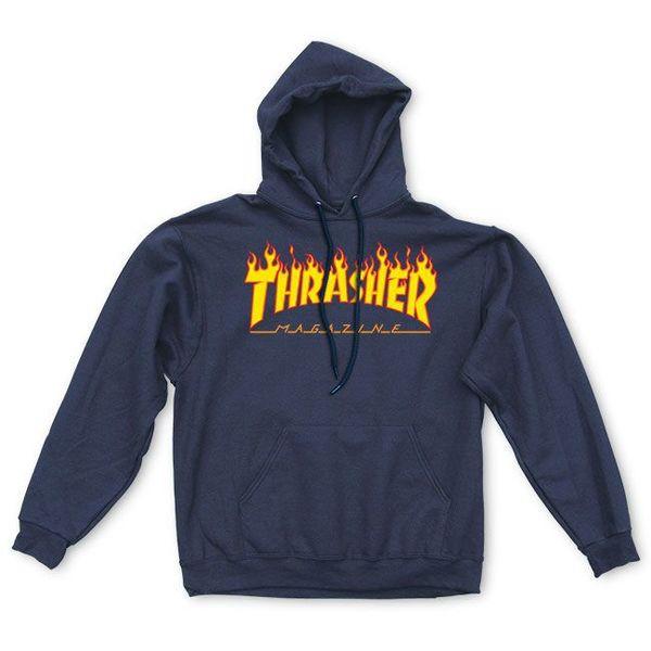 Thrasher Flame Logo 帽T (深藍)《Jimi Skate Shop》