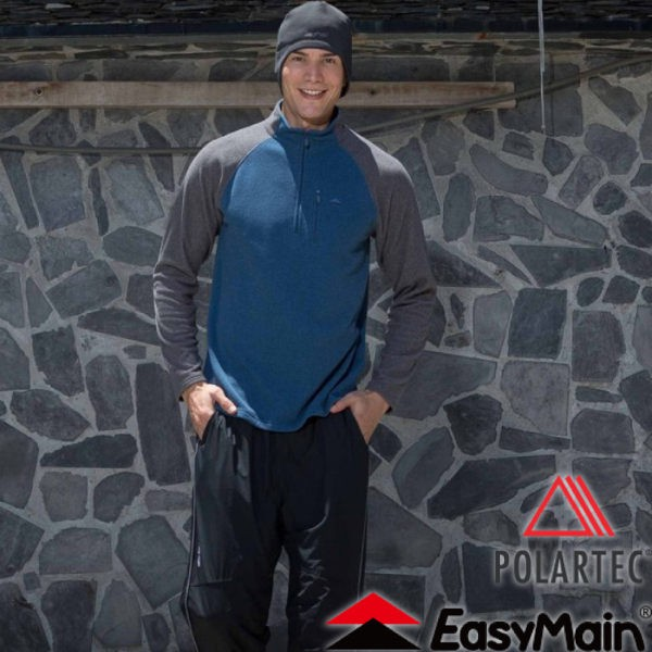【EasyMain 衣力美 男款 輕暖排汗休閒衫《深寶藍》】SE16063/高透氣/立領設計/保暖柔軟/悠遊山水