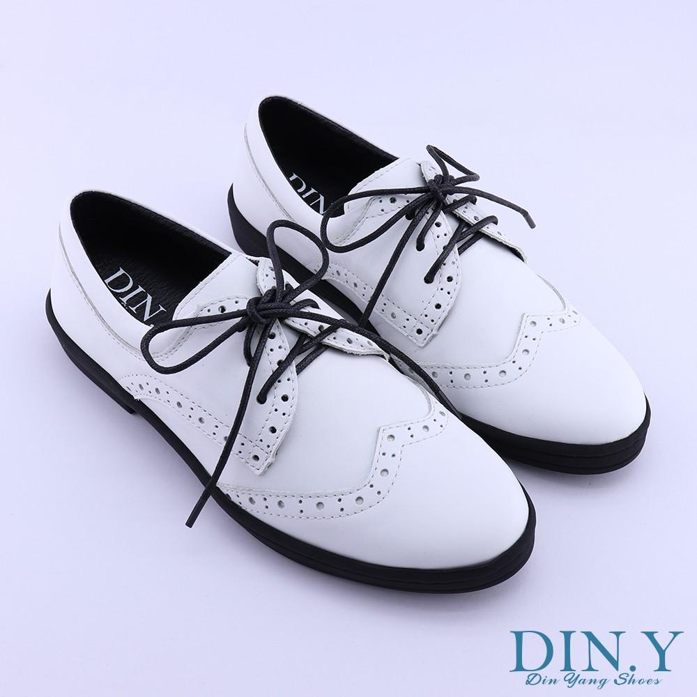 DIN.Y / S002-01 / 真皮短筒紳士鞋(白) 雕花綁帶 / 粗跟 / 牛津鞋 /手工鞋 / 皮革 / 女鞋
