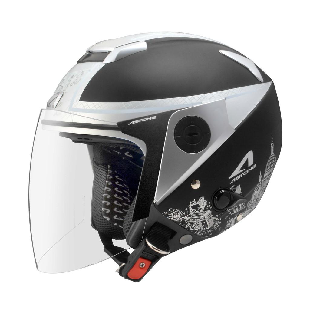 【ASTONE】RS T56 (平黑銀) 3/4 半罩 安全帽 內藏墨片 鏡片快拆 眼鏡溝 安全插扣 內襯可拆洗