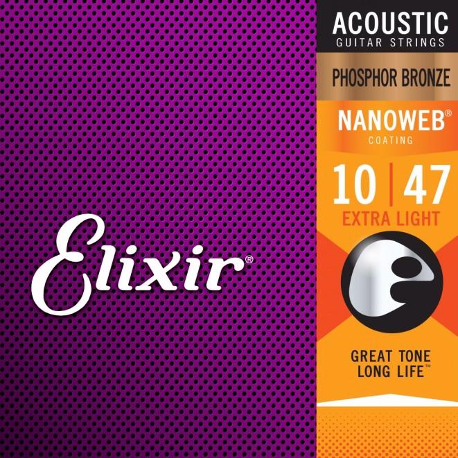Elixir Nanoweb Phosphor Bronze 10-47 磷青銅 木吉他弦 套弦