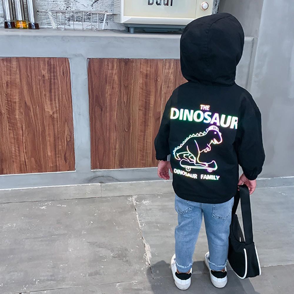 背後反光恐龍雙面穿連帽風衣外套 男童 風衣 外套 連帽 薄外套 兒童 童裝 橘魔法 現貨【p0061217899845】