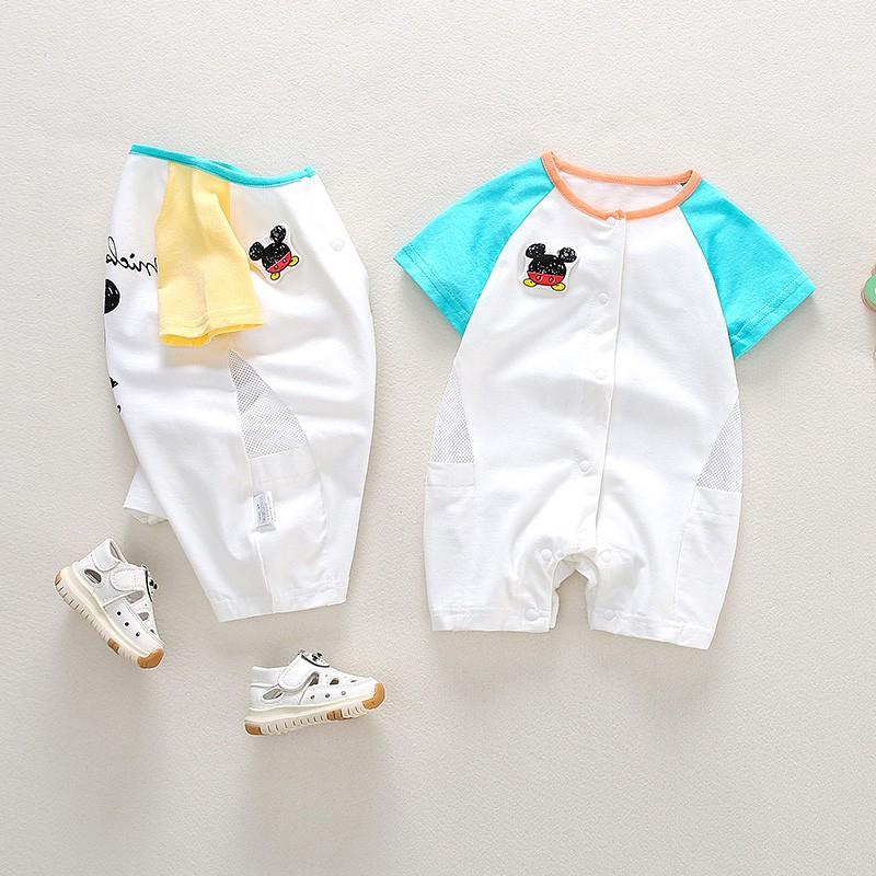 嬰兒爬爬服 短袖薄款 男女寶寶夏裝連體哈衣 網紅可愛超萌新生兒哈衣 包屁衣【IU貝嬰屋】