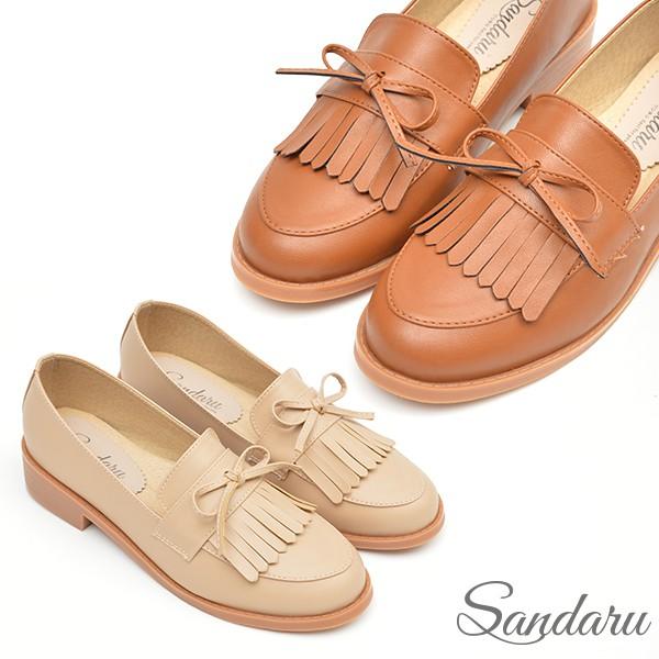 樂福鞋 紳士風格蝴蝶結流蘇軟底低跟鞋【棕、卡其】三天出貨