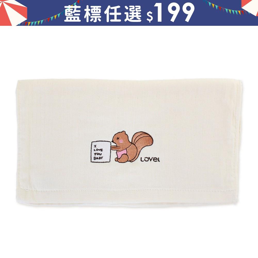 【Lovel】天然有機棉紗布毛巾 松鼠Mama《WUZ屋子》紗布毛巾 口水巾 手帕 藍標2件199