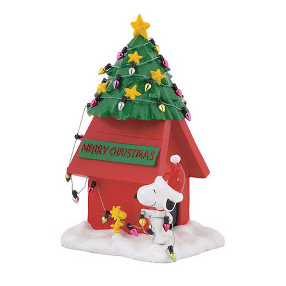 Enesco Peanuts SNOOPY 史努比聖誕樹小屋塑像