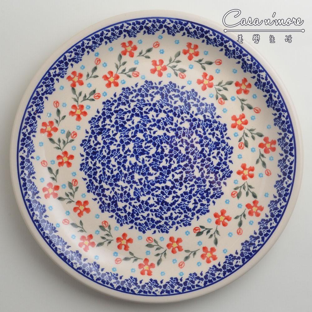 波蘭陶 藍印紅花系列 圓形餐盤 陶瓷盤 菜盤 點心盤 圓盤 沙拉盤 27cm 波蘭手工製