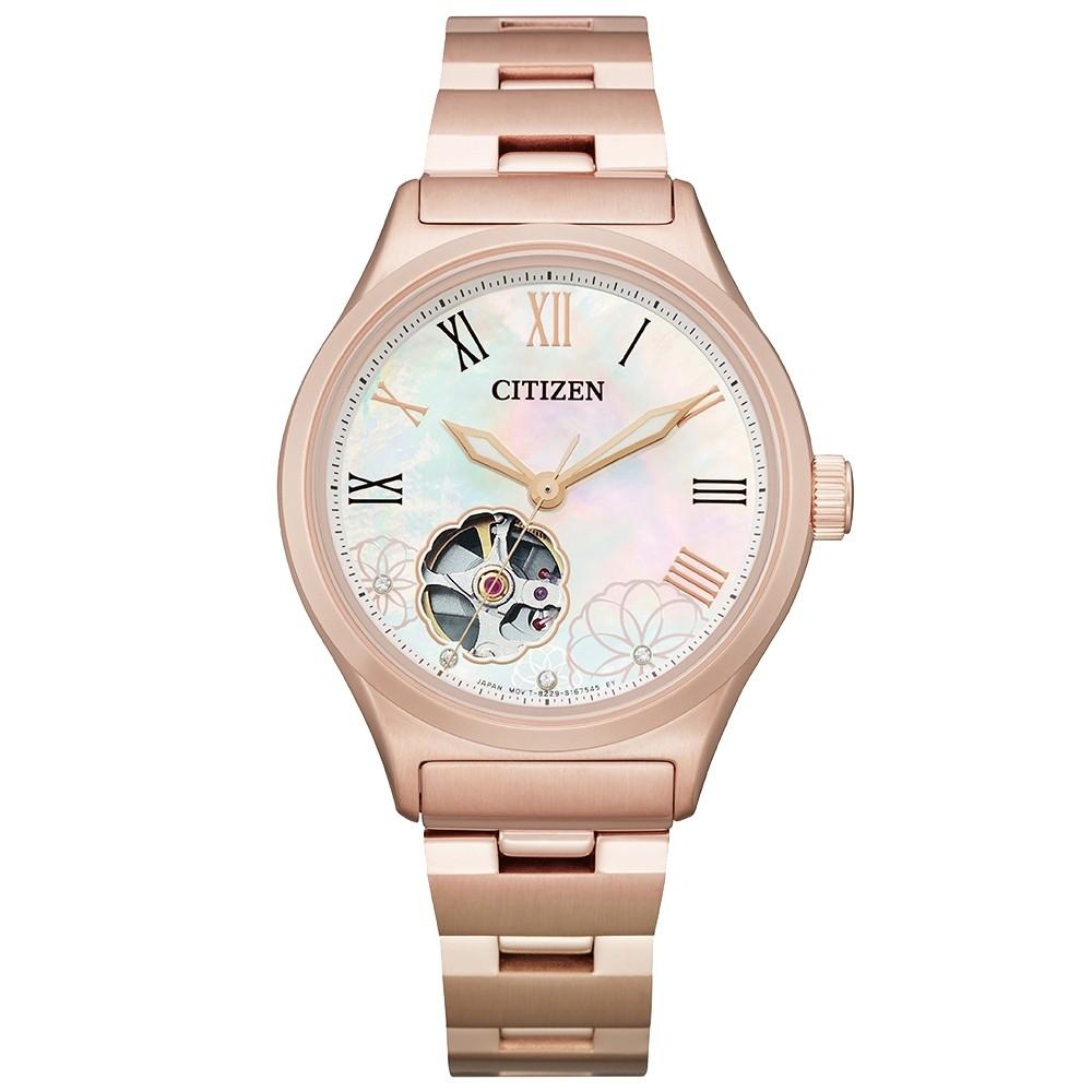 CITIZEN星辰 LADY'S花朵綻放晶鑽機械腕錶-玫瑰金34mm(PC1007-81D)【ERICA STORE】