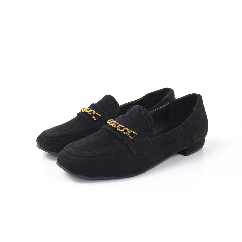 Viina 絨布方頭金屬樂福鞋-黑