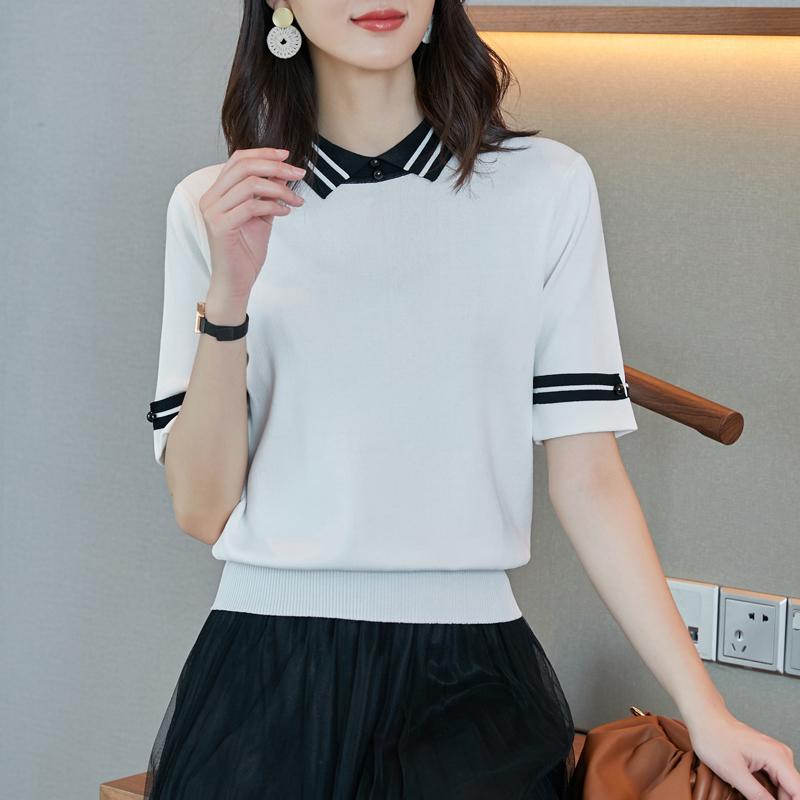 冰絲短袖針織衫 拼色Polo領短袖t恤 合身顯瘦韓版減齡ins潮輕熟風優雅氣質款套頭打底衫上衣