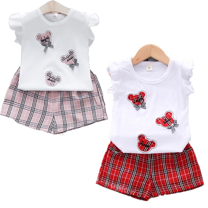 短袖套裝 荷葉袖 蝴蝶結上衣 + 格子短褲 女寶寶 嬰兒童裝 CK4649 好娃娃