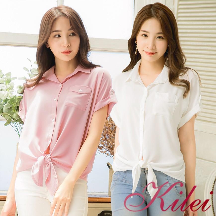 【Kilei】夏裝 純色全開釦單邊口袋綁帶下擺女生無肩線短袖襯衫XA4202(共二色)大尺碼