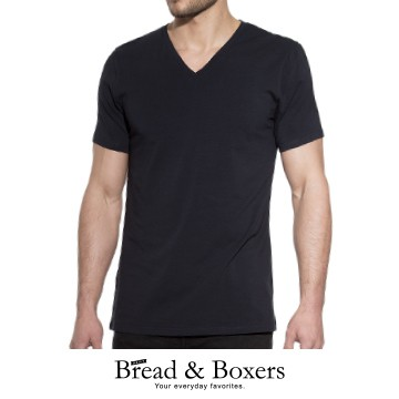 Bread & Boxers 有機棉V領素T(黑色) 短袖 短T 素T 素面 V領 質感 經典 舒適 修身 新年 送禮