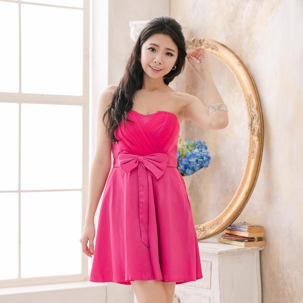 PMQueen白羽夜后洋裝禮服[12020]胸前網紗交叉緞面洋裝/禮服