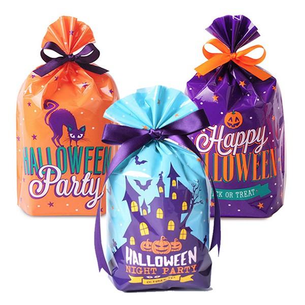 萬聖節紫貓和南瓜星星餅乾袋 糖果袋 禮物袋 食品袋【HW0039】《Jami》