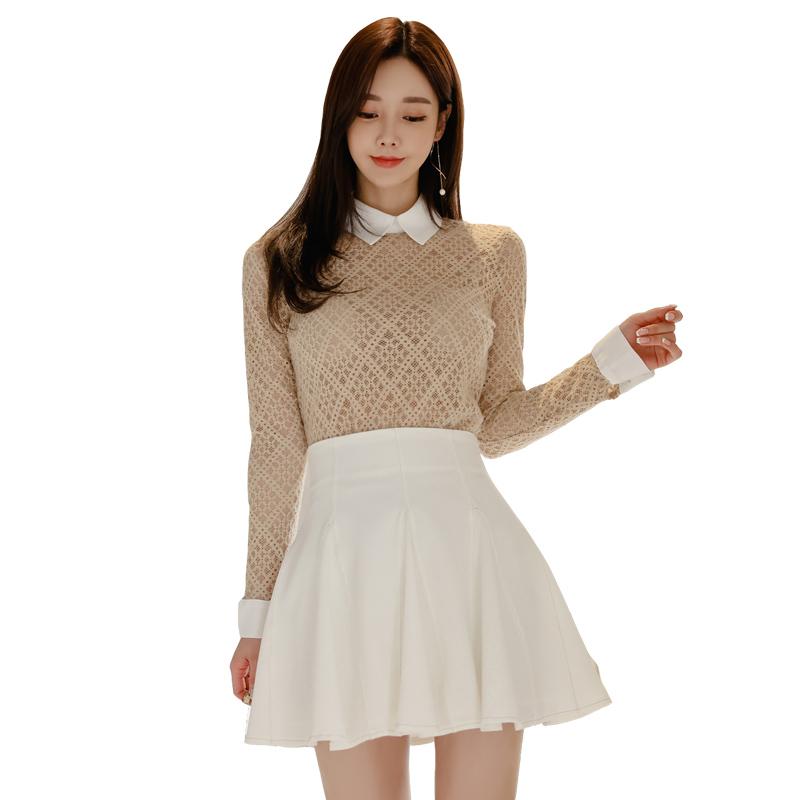 GUYU古瑜學院風兩件式套裝韓版 性感蕾絲長袖上衣+高腰傘裙迷你裙 OL套裝