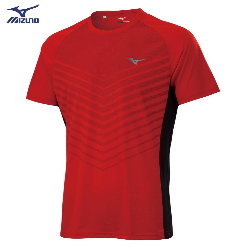 MIZUNO 男裝 短袖 T恤 吸汗快乾 合身版型 線條 紅【運動世界】K2TA100262